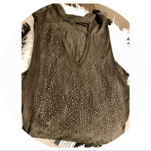Charlotte Russe Olive Green Suede Tank